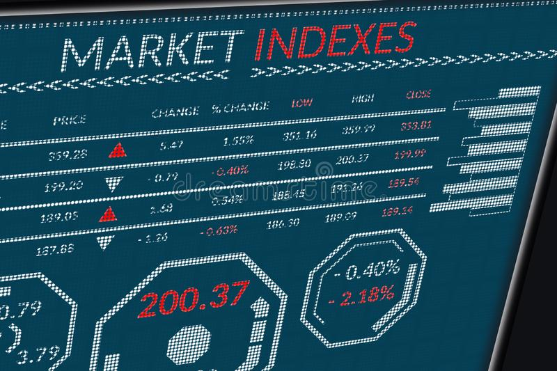 Stock market indexes or forex trade data on pixels screen. Perspective view of display monitor or information table with graphs,. Charts, indexes, diagrams and stock photography