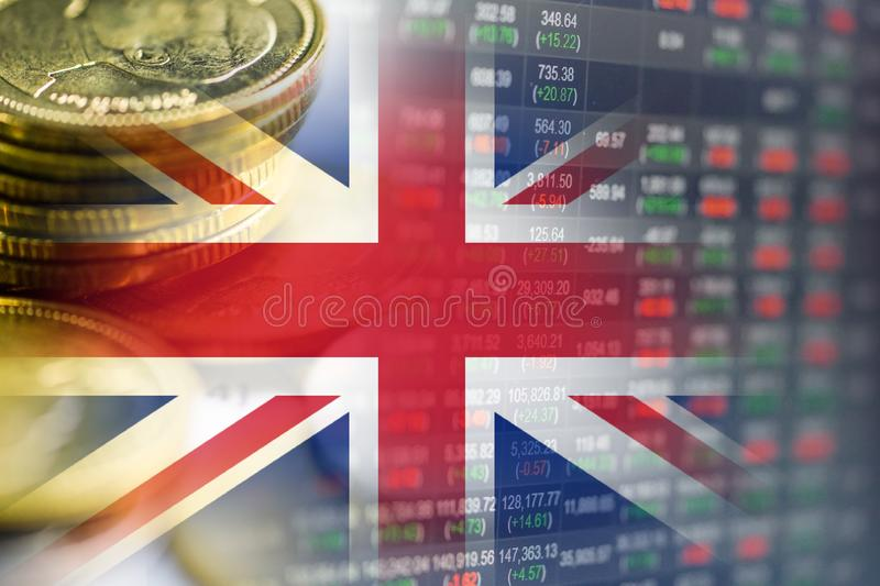 Stock market investment, coin and England flag or Forex analyze profit finance business. Stock market investment, coin and England flag or Forex analyze profit royalty free stock photos