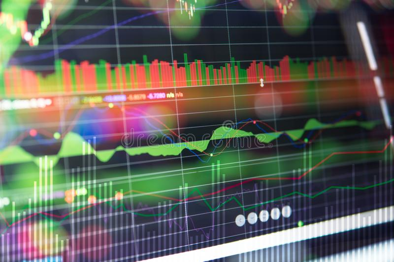 Stock market investment trading. Financial chart with up trend line graph royalty free stock image