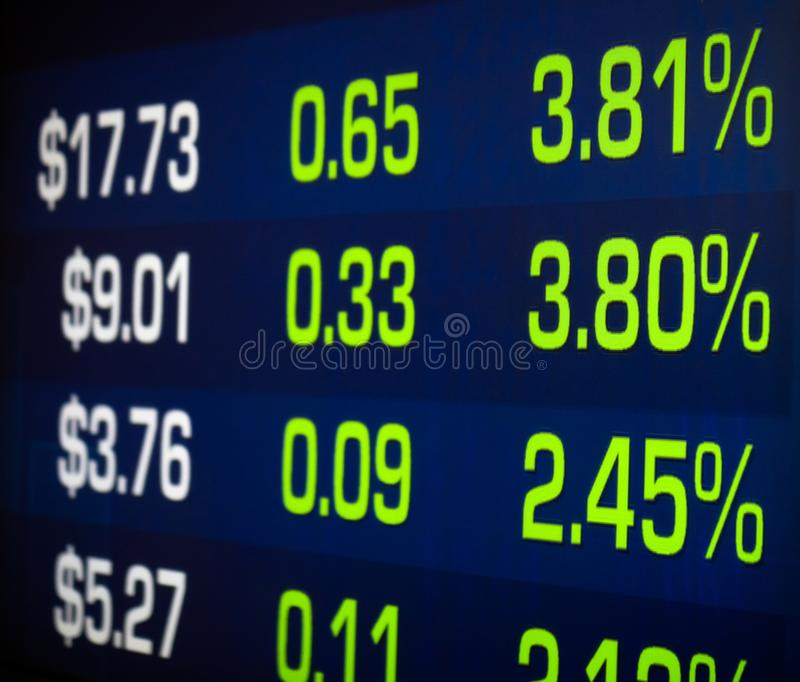 Stock market investments rally increasing green percentage price display with figures making money and wealth royalty free stock photo