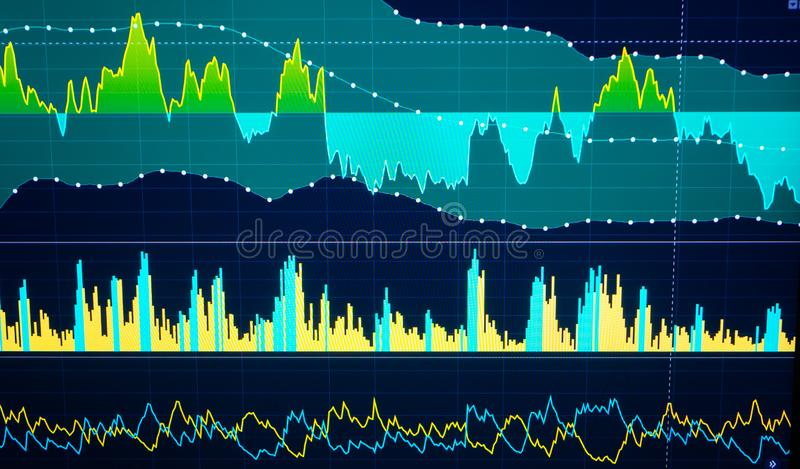 Stock market and other finance themes. Finance data concept. Stock market and other finance themes. Financial data on a monitor. Finance data concept royalty free stock images