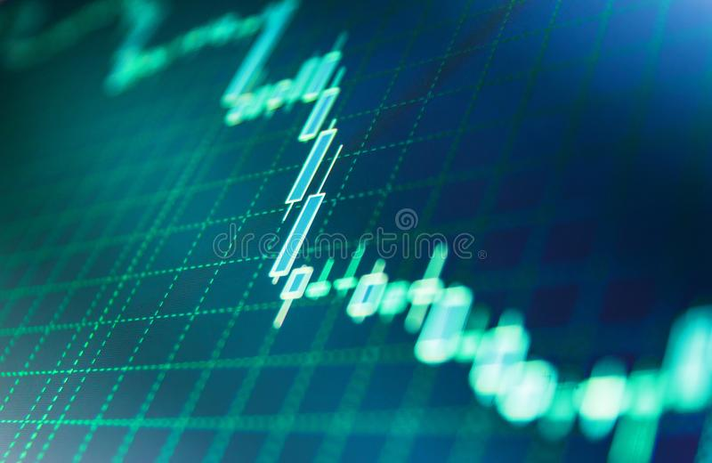 Stock market quotes on display. Bitcoin price watch. Background stock chart. Financial diagram with candlestick chart royalty free stock photos