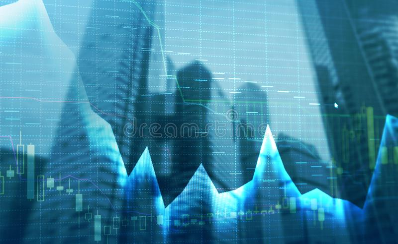 Stock market quotes graph. Double exposure business and stock market or forex graph suitable for financial traders investment. Stock market quotes graph. Double royalty free stock image