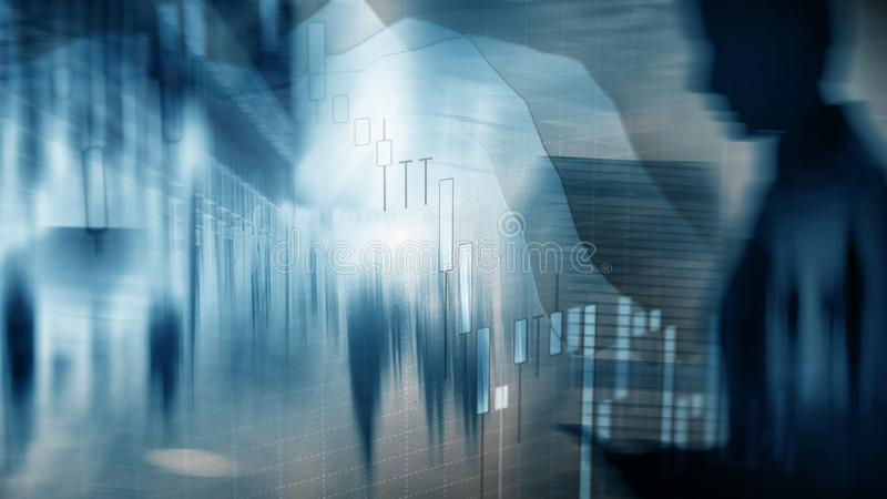 Stock market quotes graph. Double exposure business woman and stock market or forex graph suitable for financial traders stock illustration