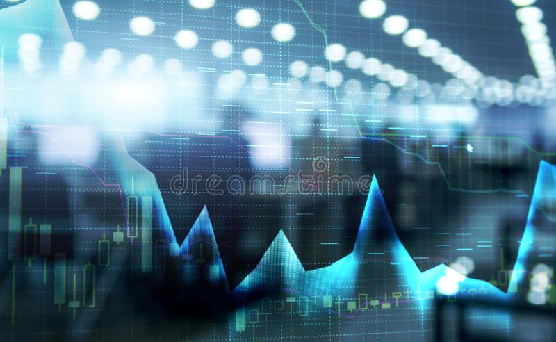 Stock market quotes graph. Double exposure and stock market or forex graph suitable for financial traders investment concept. Stock market quotes graph. Double royalty free illustration