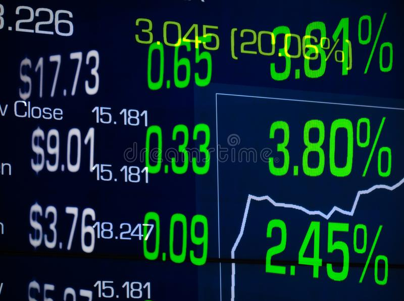 Stock market rally price percentage increase green numbers with graph and reflection financial display stock image