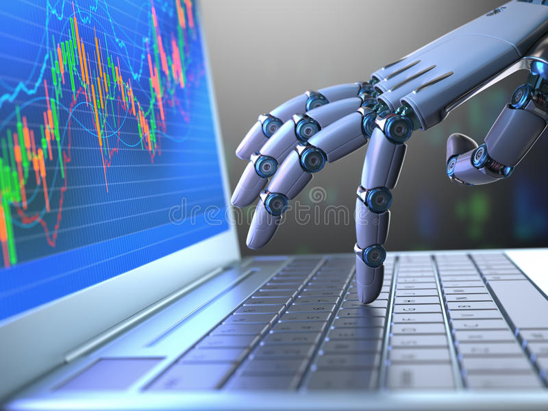 Stock Market Robot Trading. Robot hand, ordering on a laptop keyboard, an exchange trade. Robot trading system is a computer trading program that automatically stock image