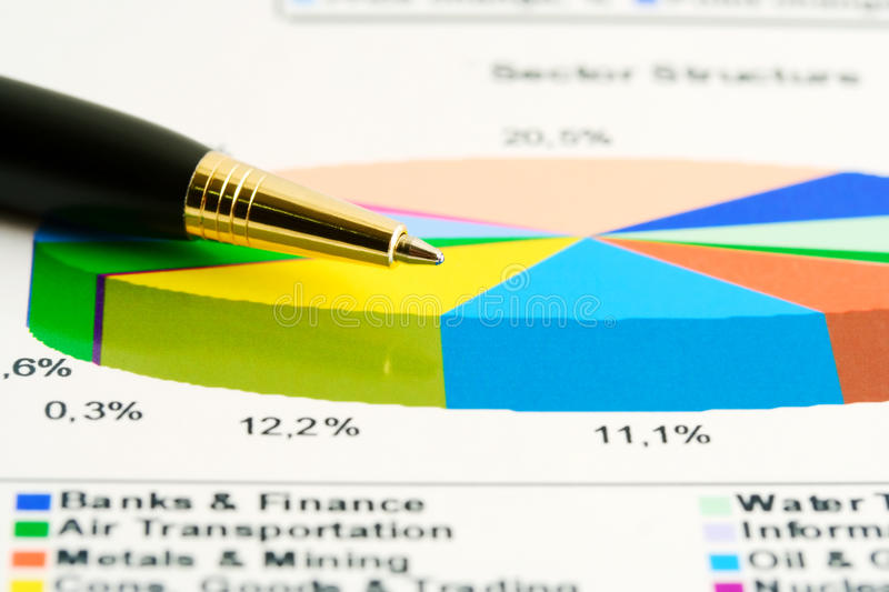 Stock market sector structure. Stock index graphs and charts analysis royalty free stock images