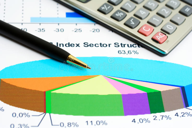 Stock market sectore structure. Accounting and stock index sector structure analysis royalty free stock images