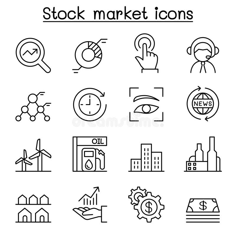Stock market, Stock money, Stock exchange icon set in thin line vector illustration