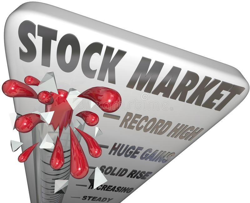 Stock Market Thermometer Rising Values Making Money. Stock Market words on a thermometer to illustrate rising prices and values of investments stock illustration