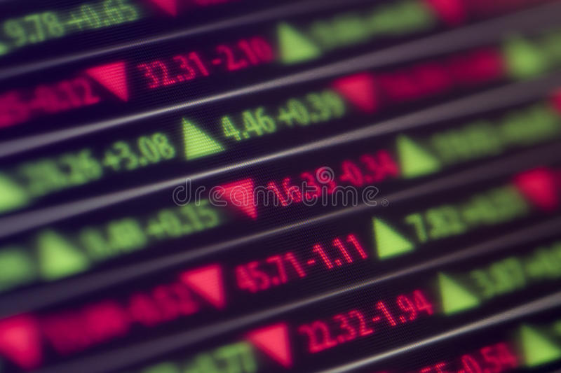 Stock Market Ticker. A stock market ticker shows stock gains and losses for the day