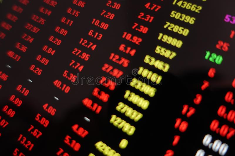 Stock market trading price red screen stock images