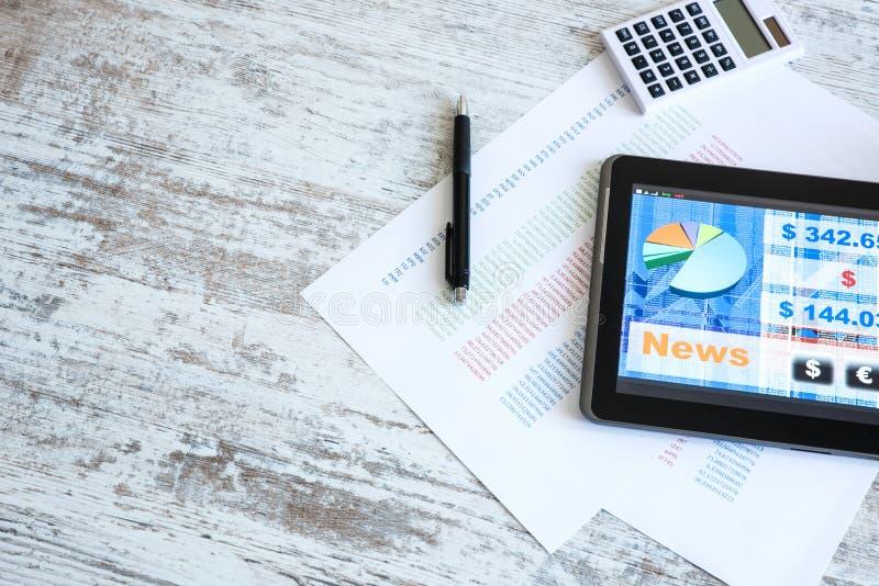 Stock market trading app on a Tablet PC. Stock market trading and research software on a Tablet PC on a office Desktop stock photo