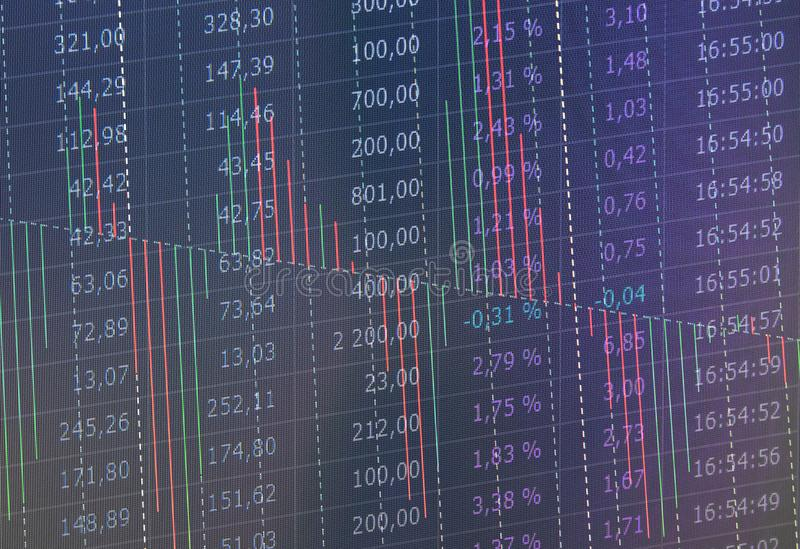 Stock Market Trading Graph and Candlestick Chart Suitable for Financial Investment Concept. Abstract Finance Background. stock photography