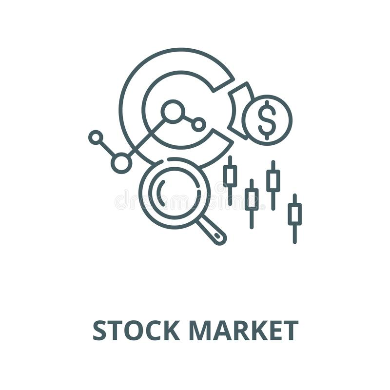 Stock market vector line icon, linear concept, outline sign, symbol vector illustration