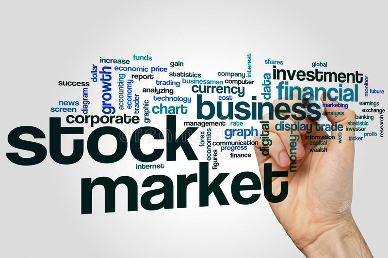 Stock market word cloud stock photography