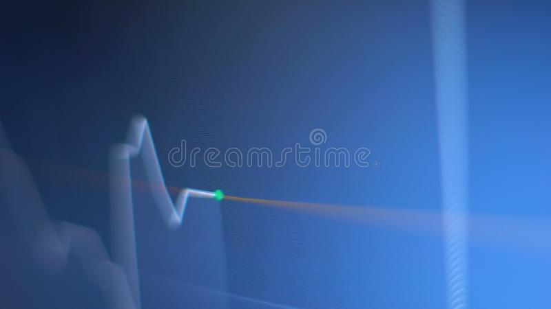 Stock option real time index value, green dot up and down towards deadline. Stock photo stock illustration