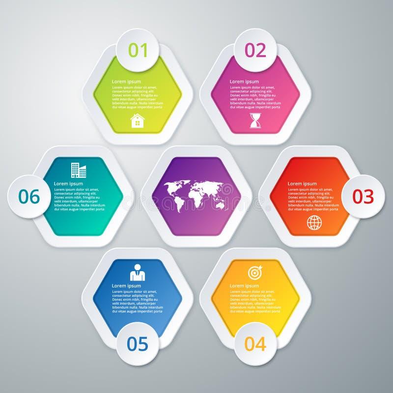 Stock options infographics six hexagons vector illustration