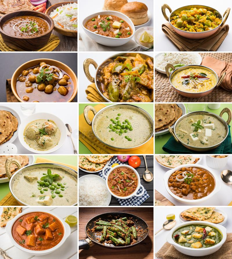 Stock photo of collage of indian popular main course vegetable curry or recipe royalty free stock photo
