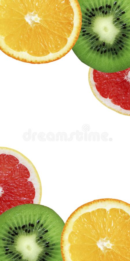Colorful panorama with orange, kiwi and grapefruit slices royalty free stock image