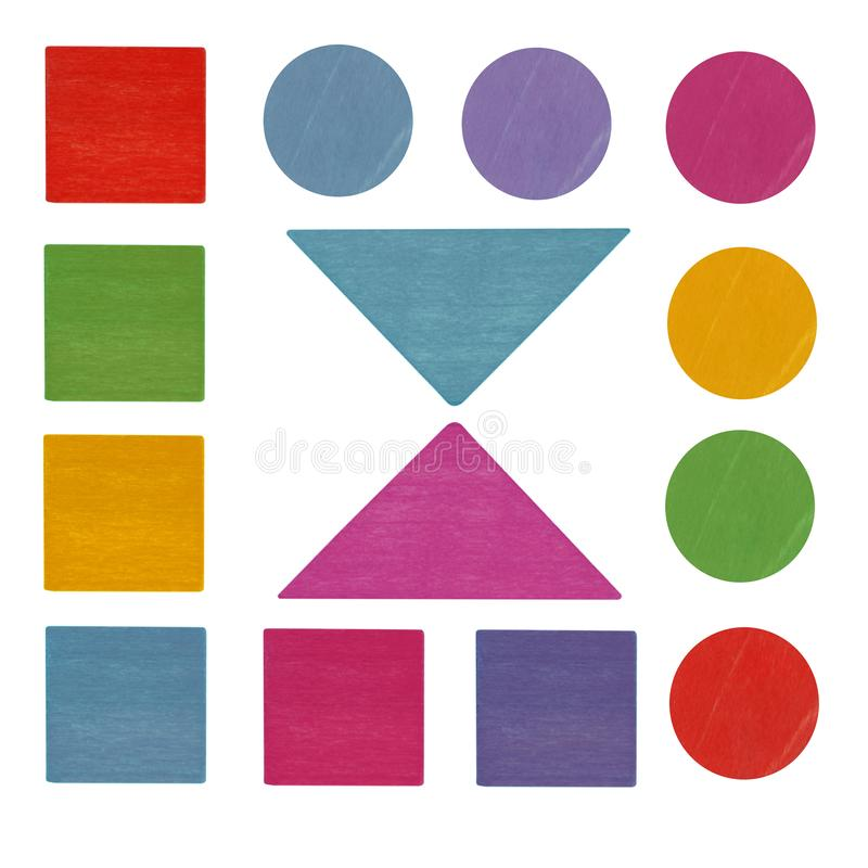 Colorful wooden kids toy geometric shapes and details isolated. On the white background royalty free stock photography