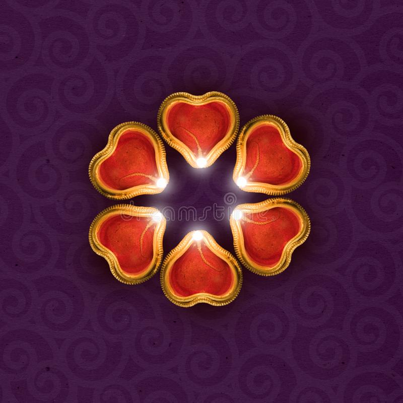 Diwali greeting card template showing diya top view with copy space stock images