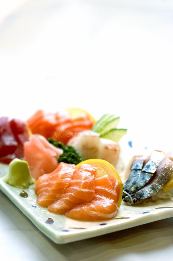Stock Photo Japanese Food,. Japanese Food, Plate of Sashimi, Sliced Raw Fish, Tuna, Salmon, Mackeral, PS-43295 royalty free stock images