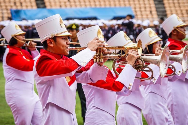 Stock Photo - Nakhon Ratchasima, Thailand. 16th December 2016. M. Arching Band Competition at Sport & Athletic Event Hi school at Meaung, Nakhon Rachasima stock photography