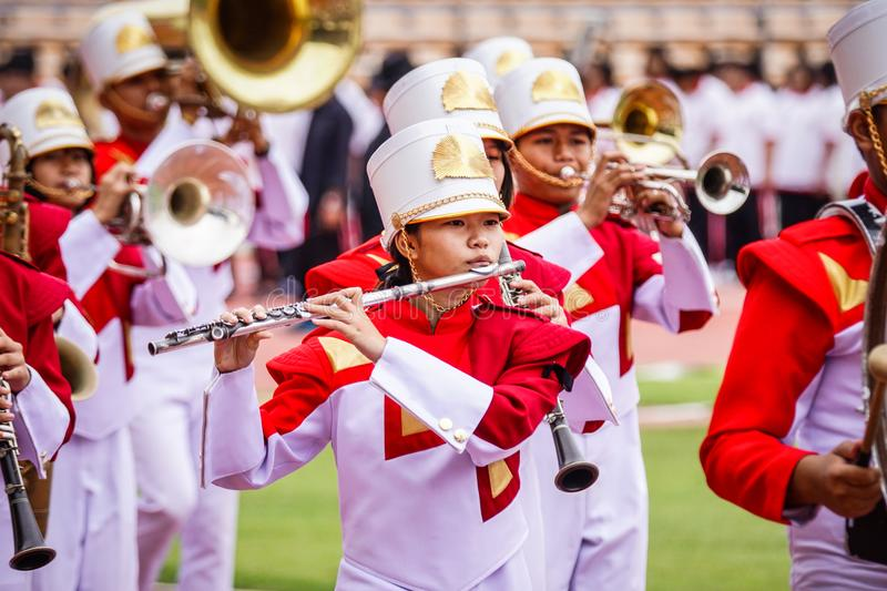Stock Photo - Nakhon Ratchasima, Thailand. 16th December 2016. M. Arching Band Competition at Sport & Athletic Event Hi school at Meaung, Nakhon Rachasima stock image