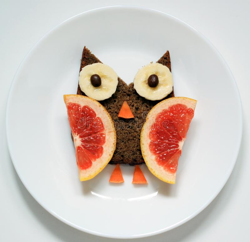 Funny food art for breakfast for kids royalty free stock photography