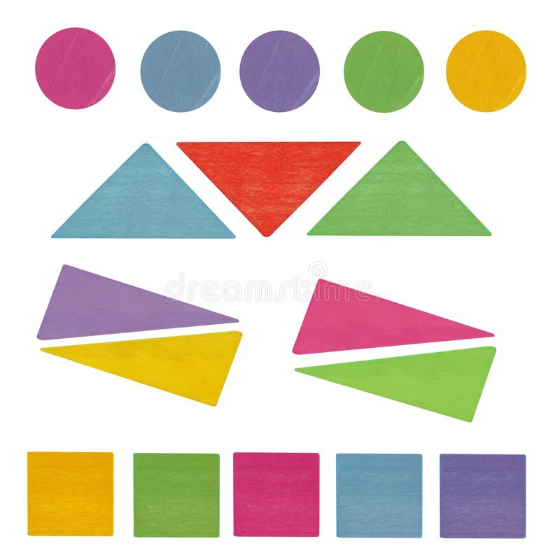 Top view on colorful wooden kids toy geometric shapes triangles. Circle, square isolated on the white background royalty free stock image
