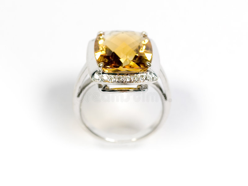 Stock photo: Yellow sapphire white gold ring stock photos