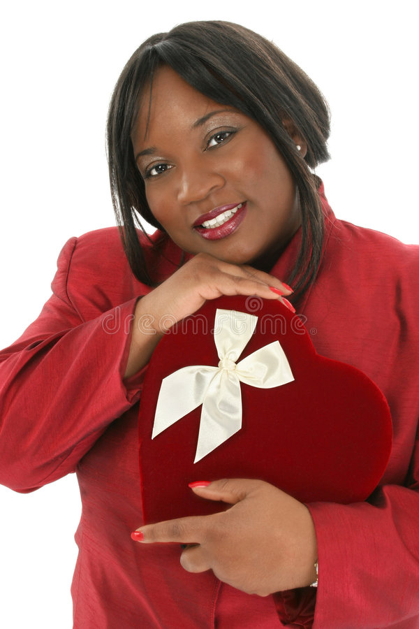 Stock Photography: Beautiful African American Woman with Red Heart Candy Box stock image