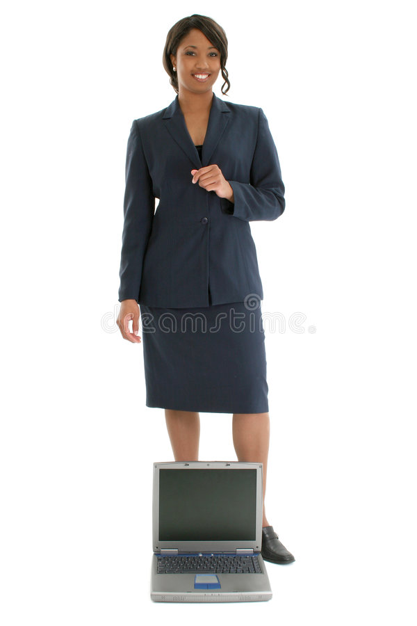 Stock Photography: Business Woman Behind Open Laptop royalty free stock image