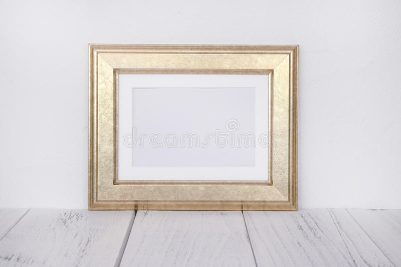 Stock photography golden picture frame mock up. For text message royalty free stock image