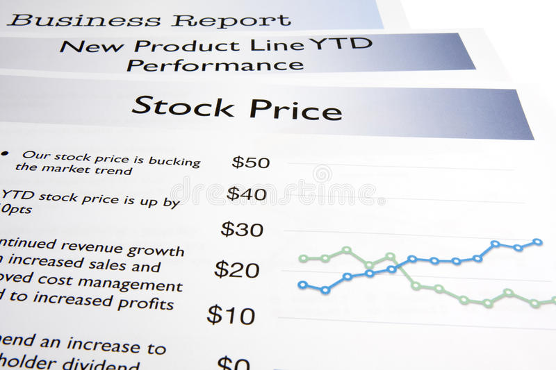 Stock Price. A business report showing a stock price report stock photo