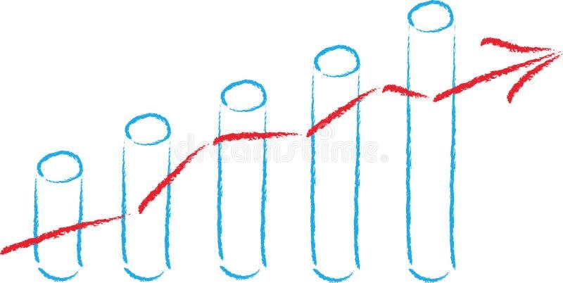 Stock price, bar chart, balance sheet, business. Share price and bar chart, balance sheet and business logo royalty free illustration