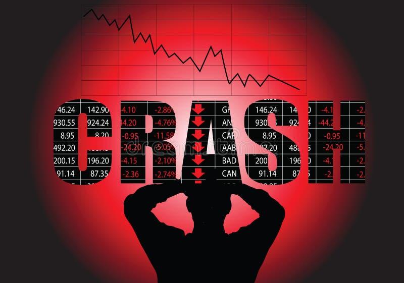 Stock Market Crash. A man holding his head, while watching the stock market crash stock illustration