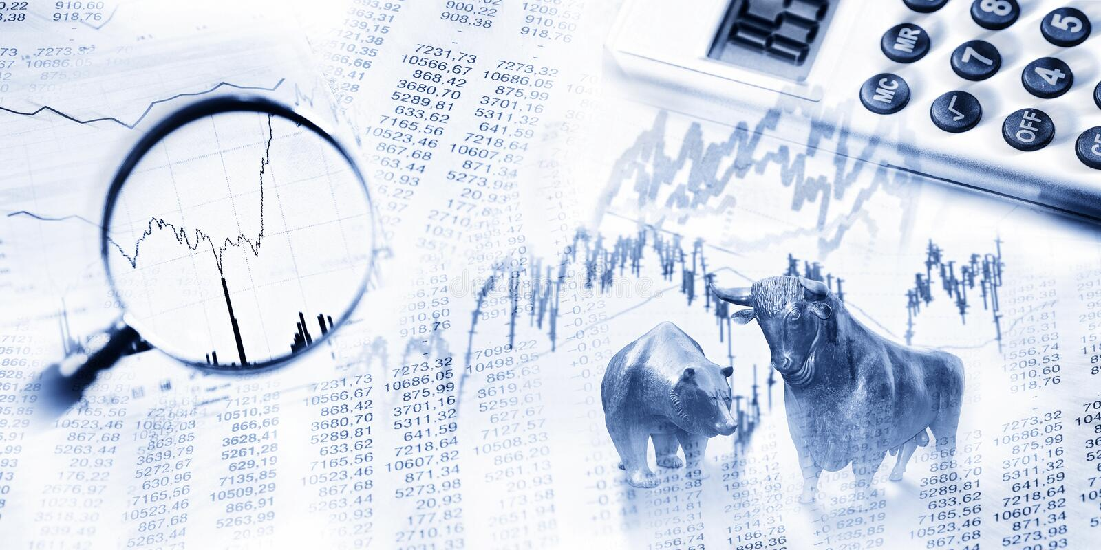 Opportunities and risks on the stock market. Stock quotes as list and graph, bull and bear, maginifier and calculator royalty free stock images