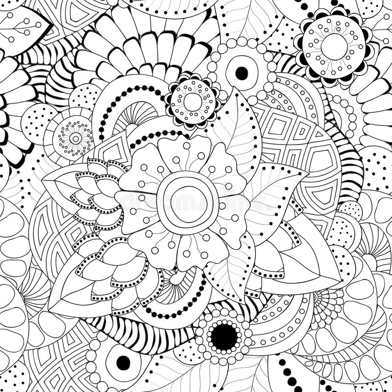 Stock seamless abstract monochrome doodle flower and wave stock illustration