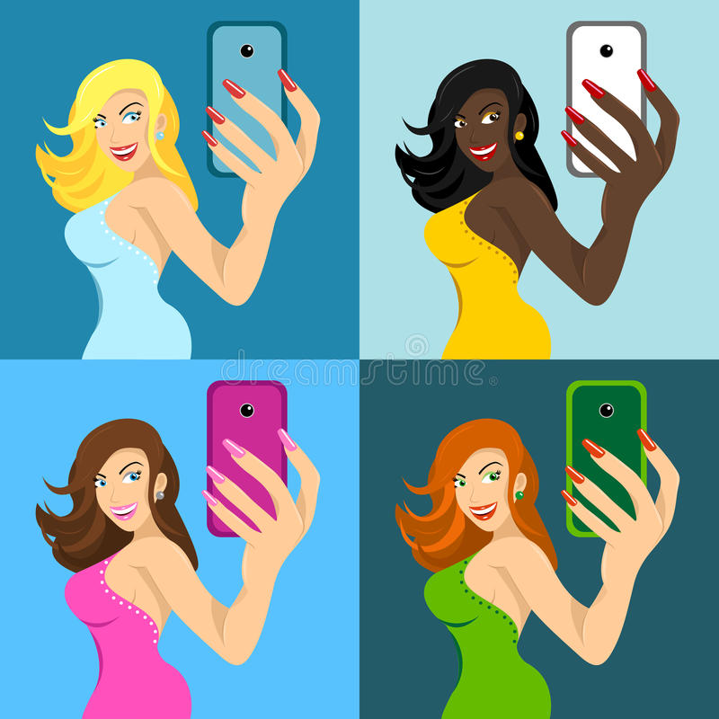 Stock set of girls make self phone vector illustration
