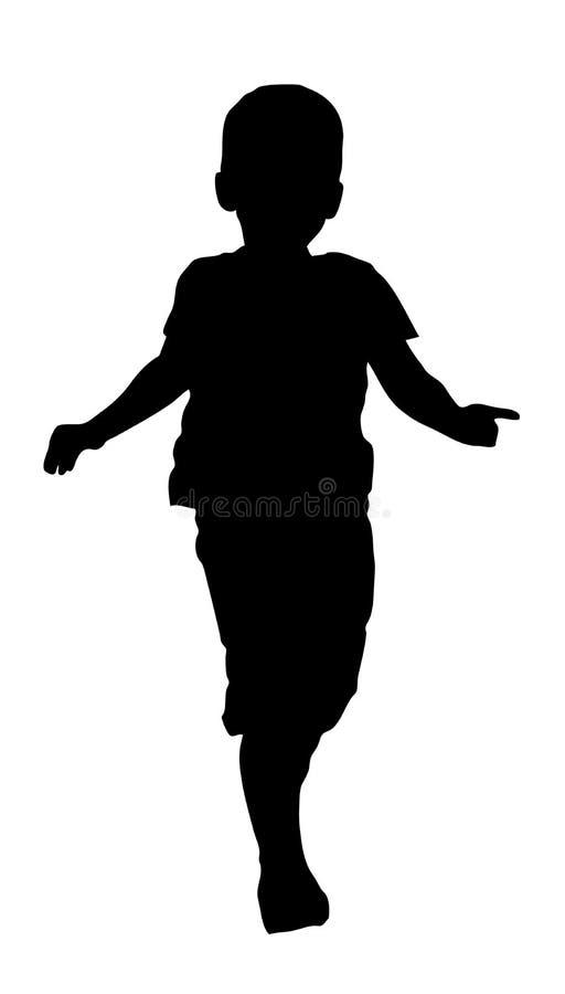Silhouette of child running silhouette. Stock Silhouette of child running silhouette royalty free illustration