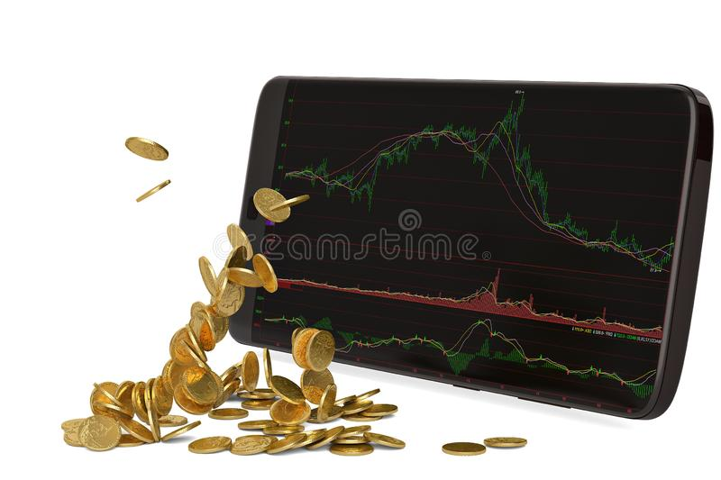 Stock smart-phone and gold coins 3d illustration. Stock smart-phone and gold coins 3d illustration royalty free illustration
