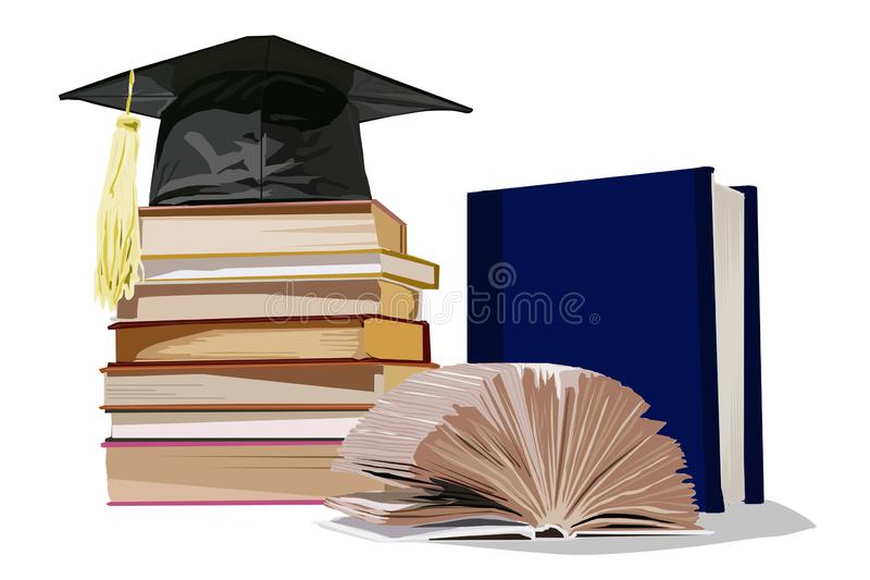 Stock of the student, the book on a white background royalty free illustration