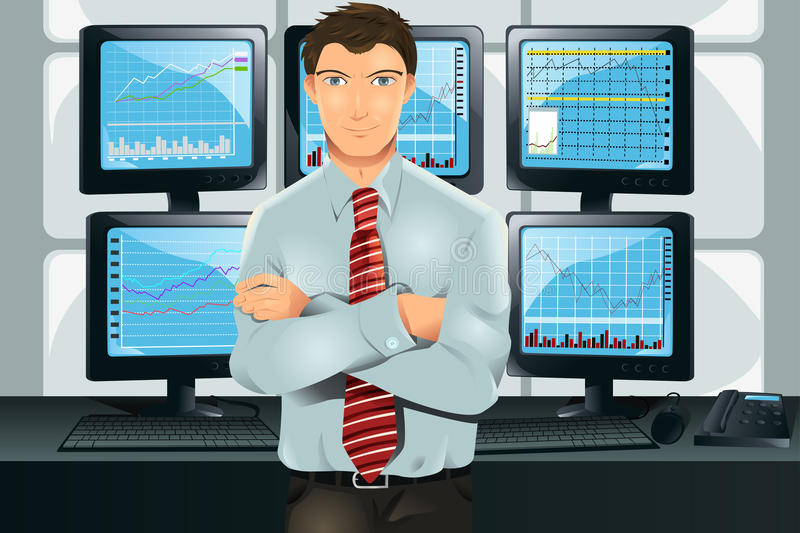 Stock trader. A illustration of a stock trader in his office in front of multiple monitors showing graphs