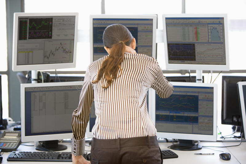 Download Stock Trader Looking At Multiple Monitors Stock Image - Image of trader, dealing: 10400355