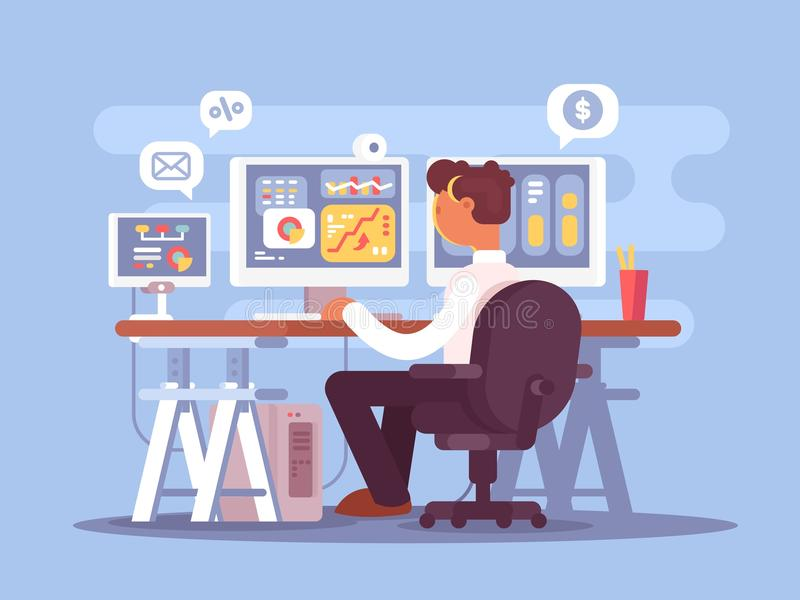 Stock trader sits in armchair stock illustration