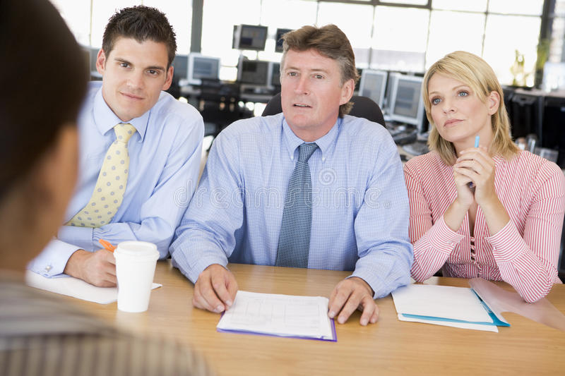 Stock Traders Conducting Interview stock photography