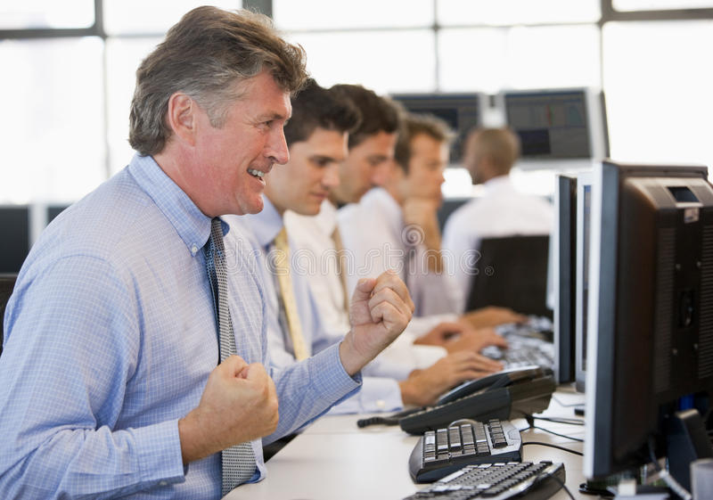 Stock Traders At Work royalty free stock image